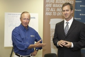 Indiana Gov. Mitch Daniels (left) and Dometic President Doug Whyte