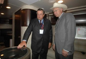 RVIA's Richard Coon (left) and Interior Secretary Ken Salazar inside the Winnebago Via during Washington, D.C., forum.