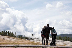 President Obama and his family, shown here waiting for Old Faithful to erupt, were among the millions of visitors to nation's national parks this past summer.