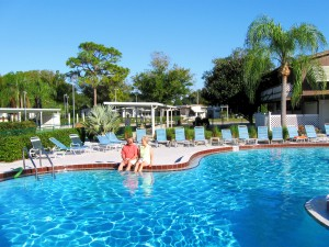Around the pool at Horseshoe Cove RV Resort, a Carefree RV Resort holding in Bradenton, Fla.
