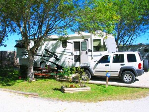 A campsite at Lone Star RV Resort, a Carefree RV Resort in Austin, Texas.
