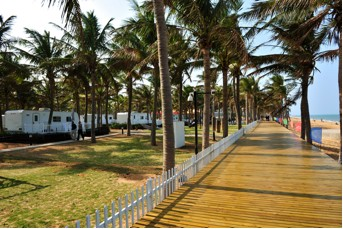 Temporary RV campground set up in South China Sea resort city of Haikou, Hainan Province, China, during recent camping forum.