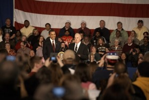 Ed Neufelt introduces President Obama during visit to Elkhart, Ind. on Feb. 9.