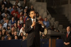 President Obama addresses a crowd in Elkhart, Ind., in February 2009.