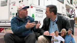 Brian Brawdy (left) makes a point with Mark Summers, host of 'RV Buddies' online show.