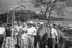 Wally Byam (wearing tie at right) joins Nicaraguan dictator Anastasio Samoza (wearing hat in center) during a caravan through that country in 1956. Dale Schwamborn is the youth standing behind Byam.i