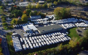 Aerial view of Pete's RV Center in South Burlington, Vt.