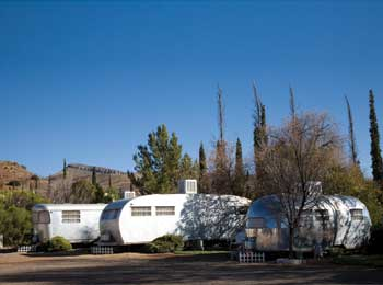 Vintage trailers available for rent at the Shady Dell RV Park in Bisbee, Ariz.