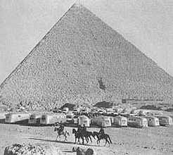 Wally Byam caravan in front of the pyramids of Egypt.