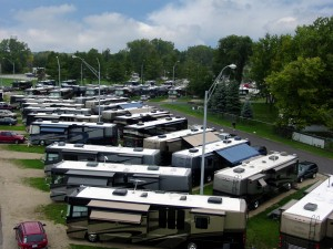 Some of the Monaco motorhomes gathered at the Elkhart County Fairgrounds in Goshen, Ind., for an owners rally. Photo courtesy of the Elkhart County Convention and Visitors Bureau.