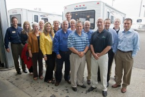 ARVC Business Forum members gather after a tour of Keystone RV Co.'s Springdale plant in Goshen, Ind.the Keyston