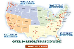 Map showing Thousand Trails campgrounds participating in new promotion.