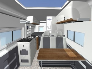 Artist's rendering of the interior of the new Westfalia Columbus motorhome.
