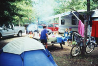 Tents and RVs comingle at Saskatchewan's Echo Valley Provincial Park