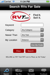 The free RVT.com Mobile iPhone app is available now at iTunes.