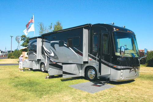 The Entegra Coach Insignia motorhome on display at the FMCA rally in Oregon.