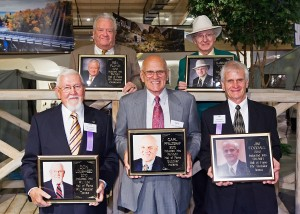 Inductees into the RV/MH Hall of Fame from the RV industry are (front row, from left) Don Lougheed, Carl Pfalzgraf and Jim Fothegal. In the back row (from left) are Rex Floyd and Clarence T. Yoder.
