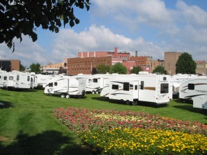 Some of the more than 120 RVs on display at the Midwest RV Super Show in downtown Elkhart, Ind.