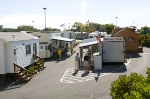 Some of the park models on display at last week's Pennsylvania RV and Camping Show in Hershey, Pa.