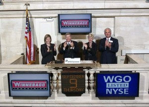 In honor of Winnebago Industries' 40th anniversary of trading on the NYSE, Chairman, President and CEO Bob Olson, joined by Vice President/CFO Sarah Nielsen (left) and PR/IR Manager Sheila Davis, rang the NYSE Closing Bell. Winnebago Industries listed on the NYSE on September 9, 1970 under the ticker symbol WGO.  
