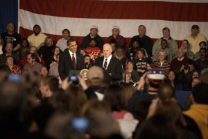 Ed Neufeldt introduces President Obama during his visit to Elkhart, Ind in February 2009.