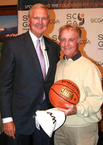 El Monte RV President Ken Schork (right) with basketball legend Jerry West