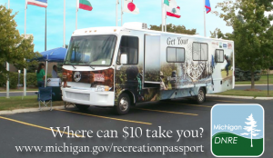 The Damon Motor Coach donated by General RV to help promote Michigan's Recreation Passport program.