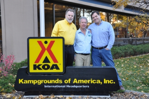 KOA CEO Jim Rogers, left, plays host to BIG4 Chairman Gavin Farrell, center, and CEO Ray Schleibs, right.