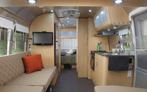 Interior of new Airstream/Eddie Bauer travel trailer