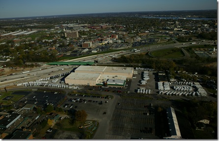 Aerial view of soon-to-be-vacated home of Tom Stinnet RV Holiday Center