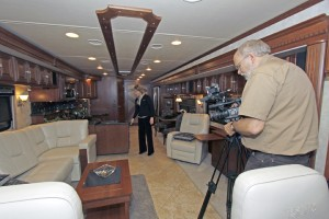 Jeff Johnston filming product assignment with Kellie Harms of Winnebago Industries Inc.