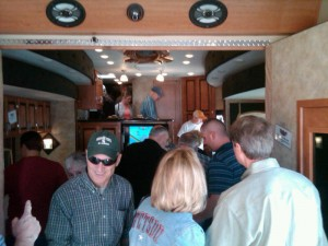 Crowds walk through the EnduraMAX luxury toy hauler displayed this month at the Florida RV SuperShow in Tampa.