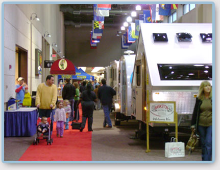RVs on display at the Alabama RV Super Show