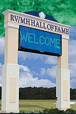 Hall of Fame sign greets passing motorists on I-80-90