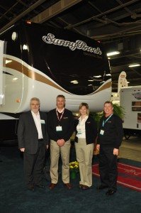 Pictured in the photo are (from left to right): Elvie Frey, Winnebago Industries Towables President; Randy Potts, Winnebago Industries President; Sarah Nielsen, Winnebago Industries VP-CFO and Bob Olson, Winnebago Industries Chairman and
