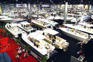 Some of the boats displayed at the boat show in Miami.