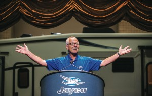 "Jayco President and CEO Derald Bontrager welcomes some 170 dealers to the company's ""2014 Homecoming."""